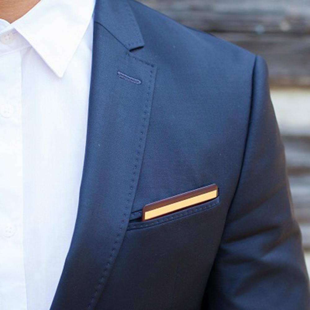 Wooden Pocket Square | Rosewood & Gold | Baffi