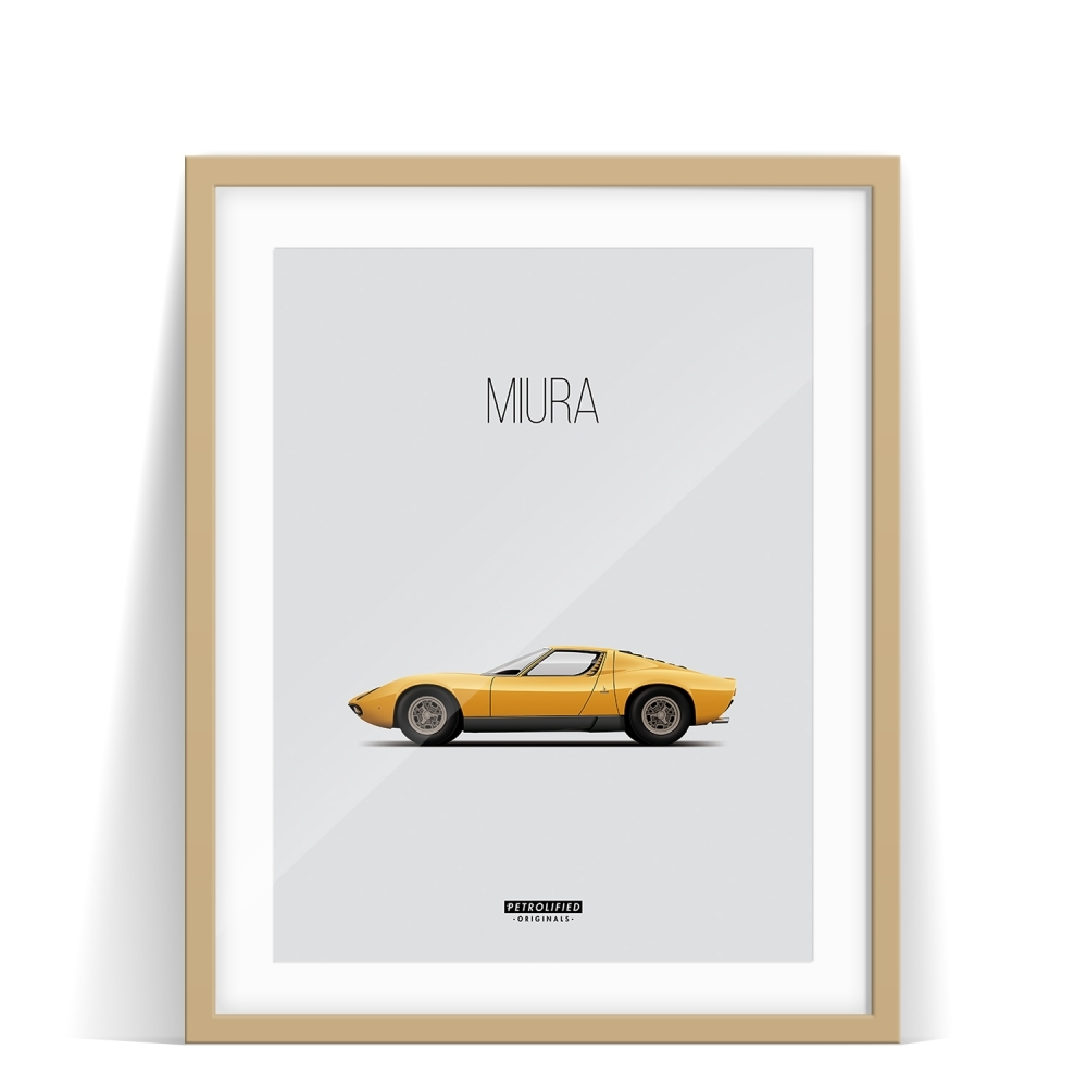 car prints, Lamborghini Miura, luxury car art