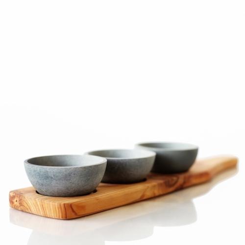 Wooden Condiment Trio