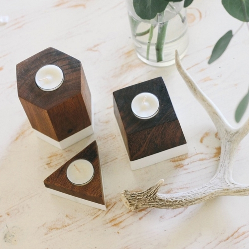 Dipped Geometric Candle Holder, Rose & Fitzgerald