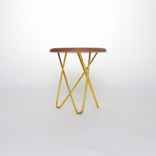 Delta Side Stool, Brass