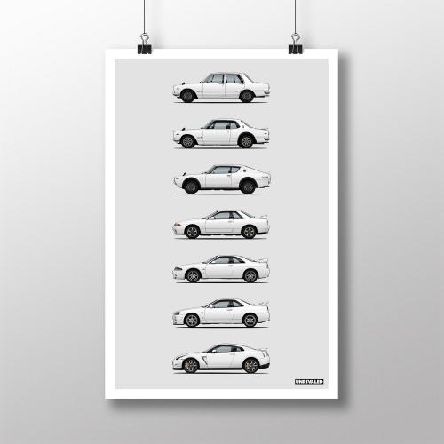 Nissan GT-R Generations Print