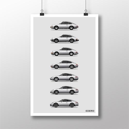 Porsche 911 Generations Print