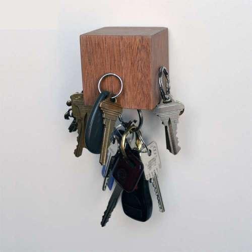 Kube Key Holder, Mahogany