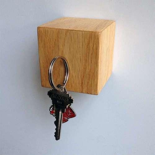 Kube Key Holder, Oak