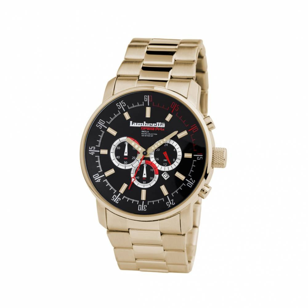 Imola Gold Bracelet Black | Lambretta Watches