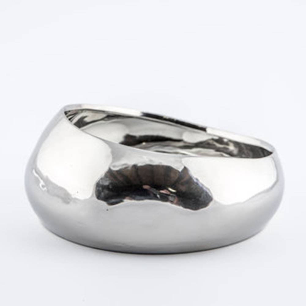 Baz Bowl, Silver - Shiny Round Bowl