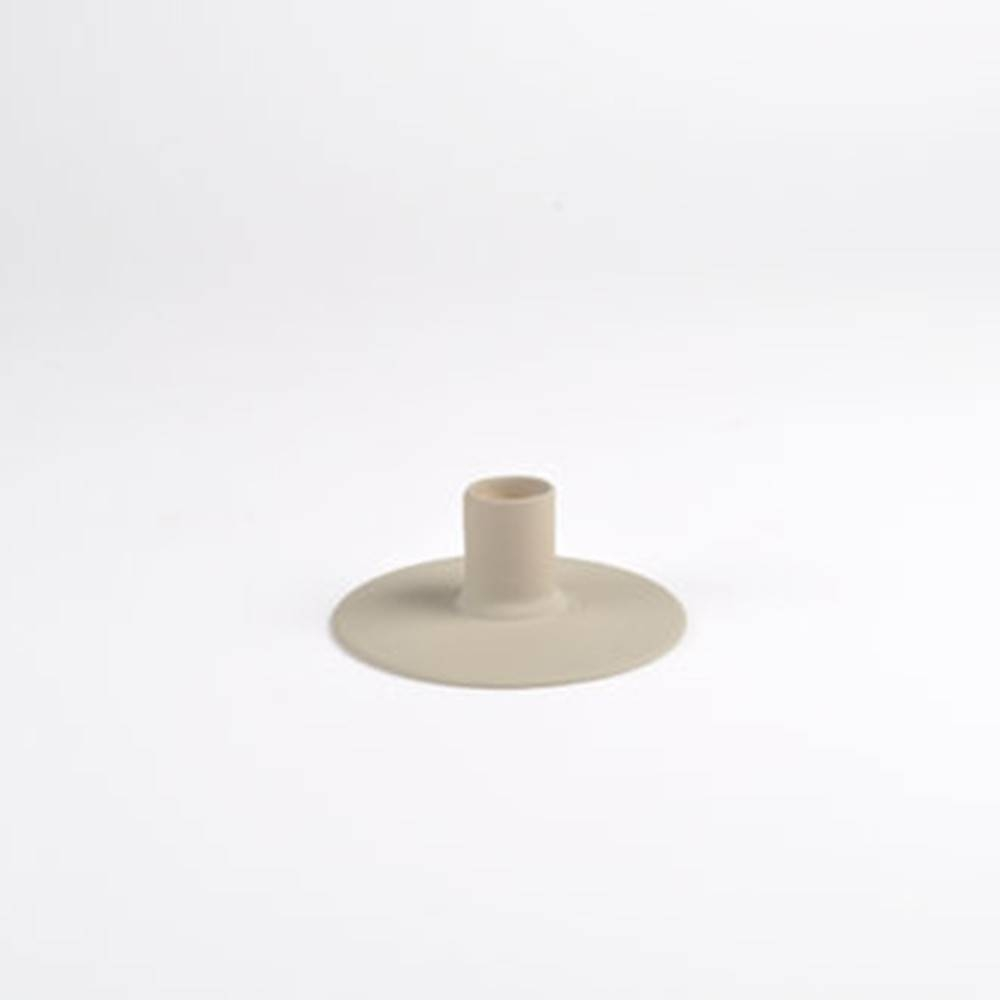 Zest Candle holder, Taupe - Porcelain Candlesticks with Wubber Paint