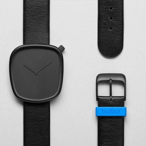 Pebble 01- Black Leather Watch