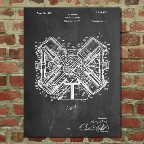 Henry Ford 1920 Engine Patent Print - Patent Prints