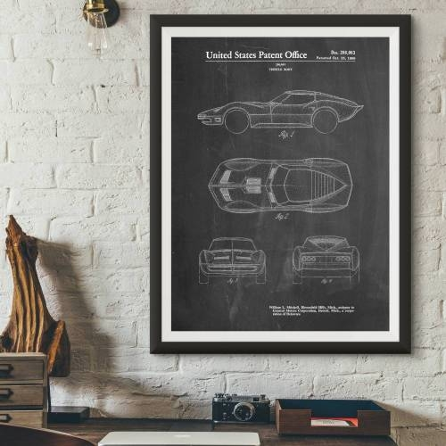Stingray Corvette Patent Print