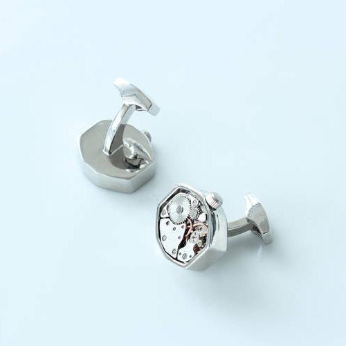 Hexflush - Steel Cufflinks made from Watch Movements