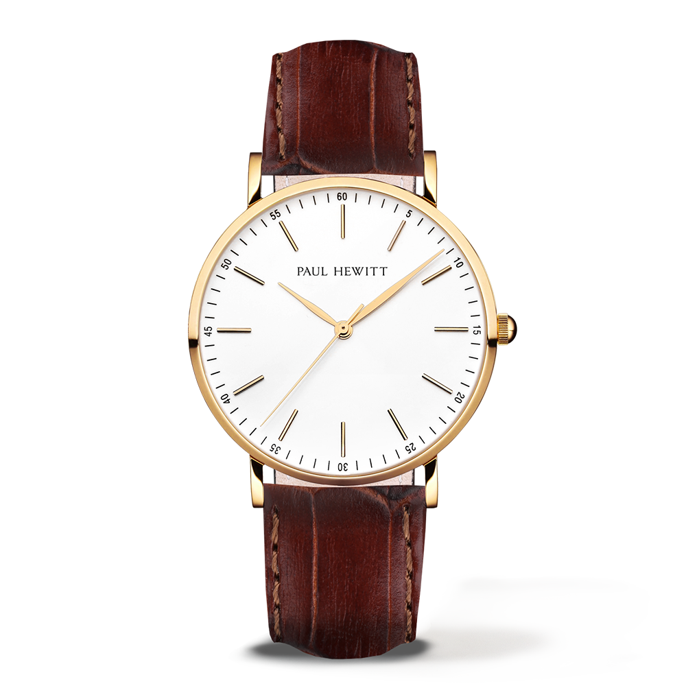 Gold Line Leather Watch, Brown - Paul Hewitt