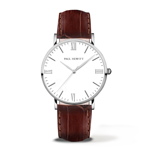 Silver Line Leather Watch, Brown