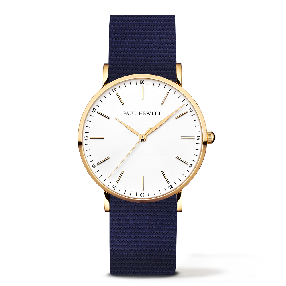 Gold Line Watch, Navy Blue - Paul Hewitt
