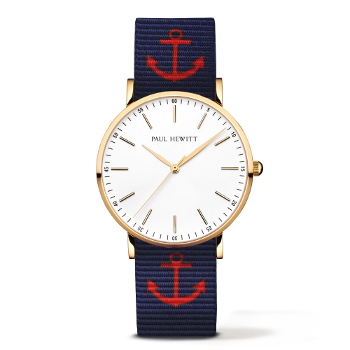 Gold Line Anchor Watch, Navy Blue/Red - Paul Hewitt