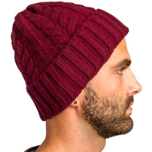 Cable Knitted Beanie, Burgundy