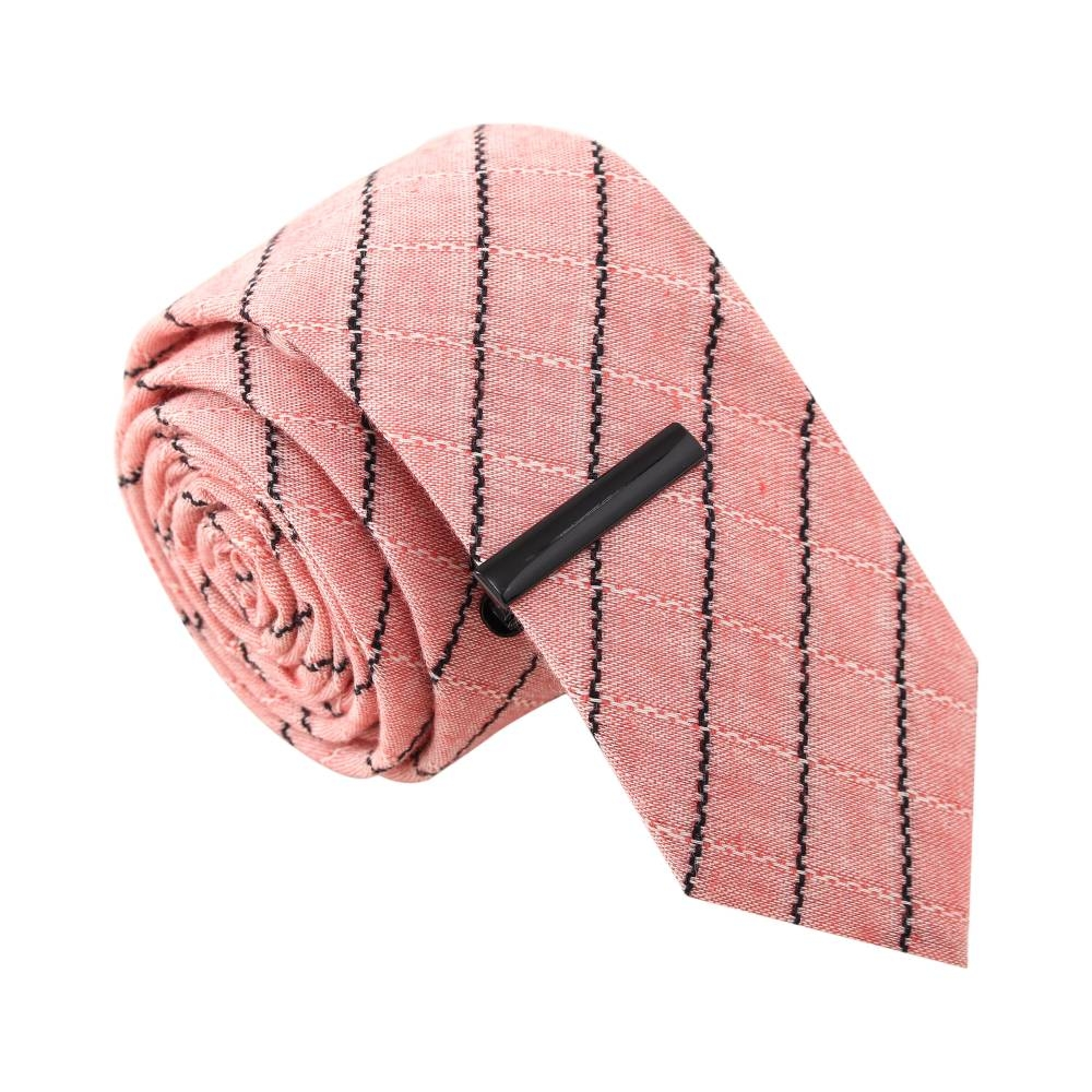 Stripe Tease Salmon Tie with Tie Clip