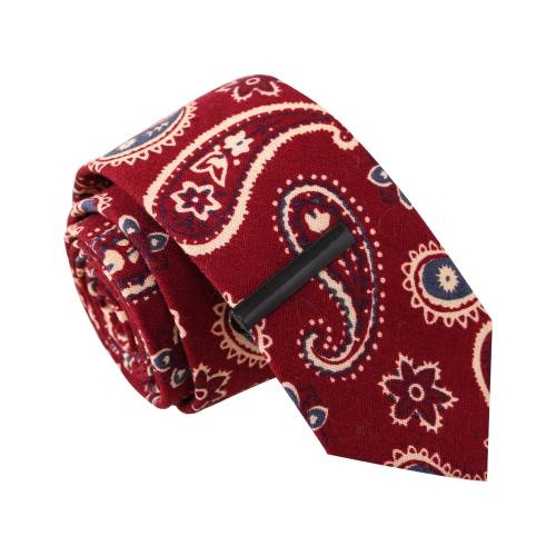 Paisley Pays Red w/ Tie Clip