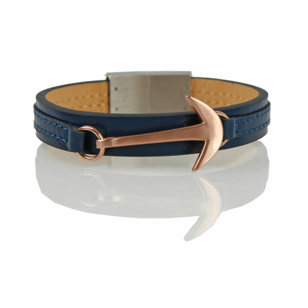 Navy and Rose Samsun Hook Leather Cord Bracelet - Buttigo