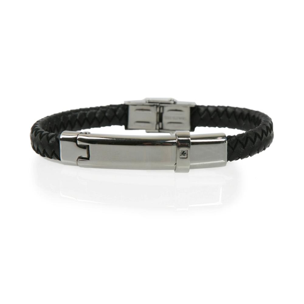Black and Silver Milas Woven Leather Bracelet - Buttigo