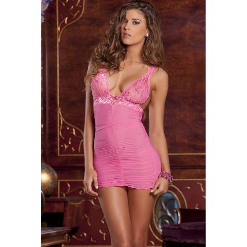 mesh & lace chemise with G-string set