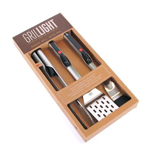 Grillight 3 Piece BBQ Tool Set | Spatula, Tongs & Brush