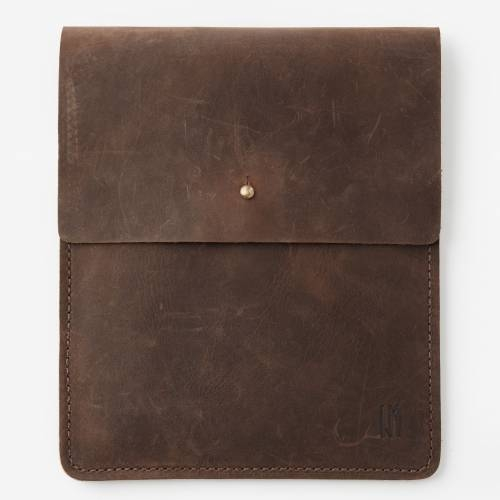 iPad Sleeve with Collar Button | Brown