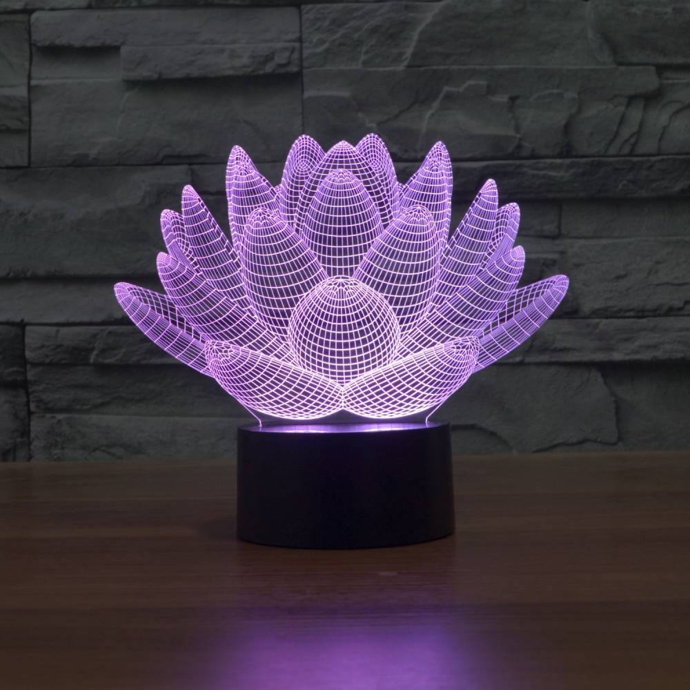 3D Illusion Table Lamp | Lotus | Coocepts Lighting - Illusion Table Lamp Lotus Coocepts Lighting