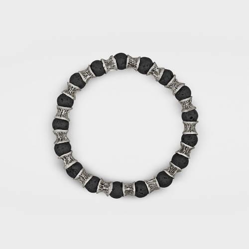 Sterling Silver Bracelet | Lava Beads