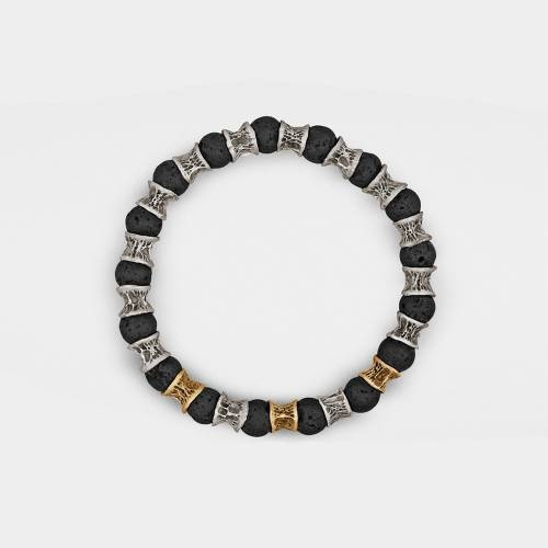 Silver Bracelet   3 Gold Links   Lava Beads