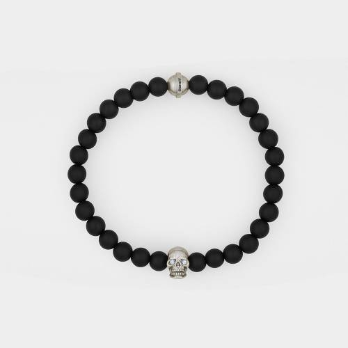 Onyx Bracelet | Silver Skull | Diamonds