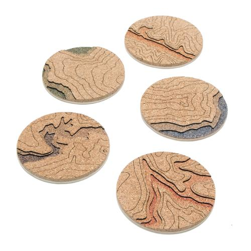 Topo Coasters | Mixed Set of 5 Colors | Tom Will Make