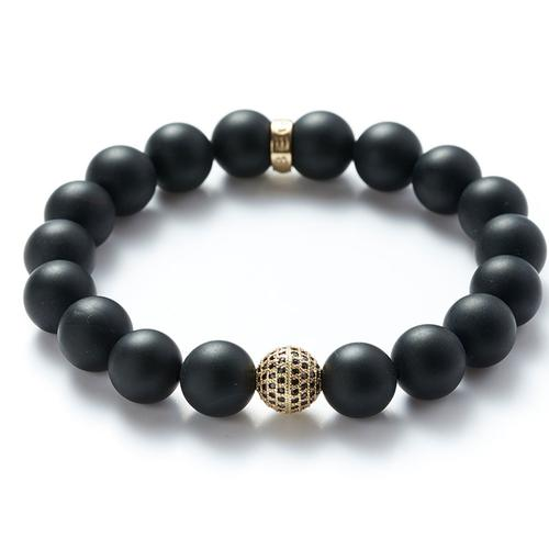 Matte Onyx | Gold Ball Bracelet