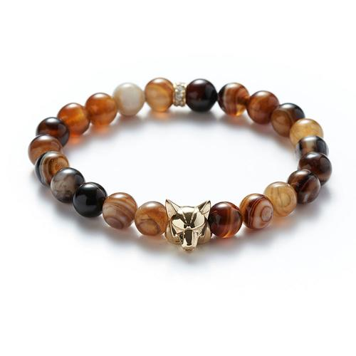Agate | Gold Wolf Bracelet