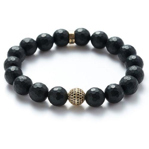 Faceted Onyx | Gold Ball bracelet