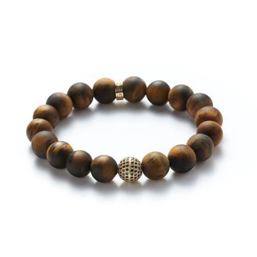 Matte Tiger's Eye | Gold Ball Bracelet