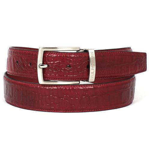 Men's Croc Embossed Calfskin Belt | Burgundy