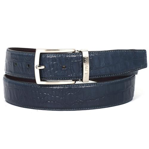 Men's Crocodile Embossed Calfskin Leather Belt | Navy