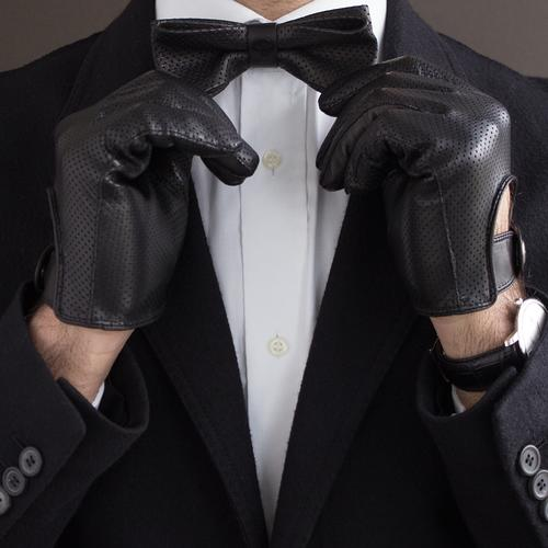 The Swanky Touch   Leather Bow Tie   Black   The OutlierMan
