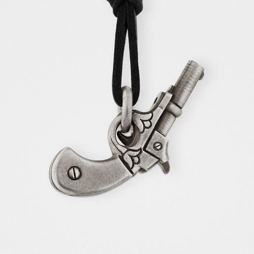 Gun Pendant   Sterling Silver & Leather