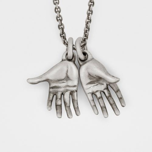 Pair of Hands Pendant   Sterling Silver