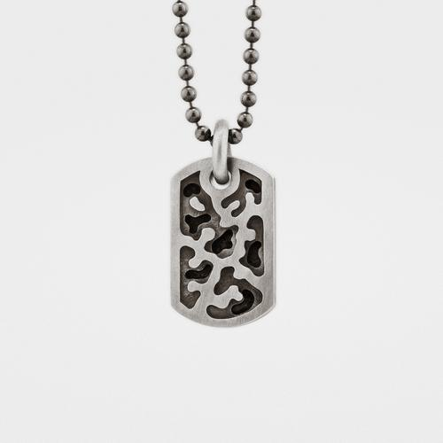 Small Camouflage Dog Tag   Silver
