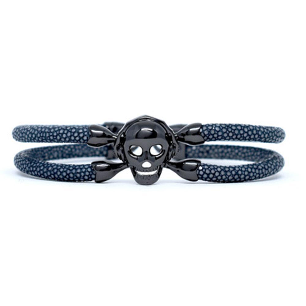 Skull Bracelet | Gray with Black Skull | Double Bone