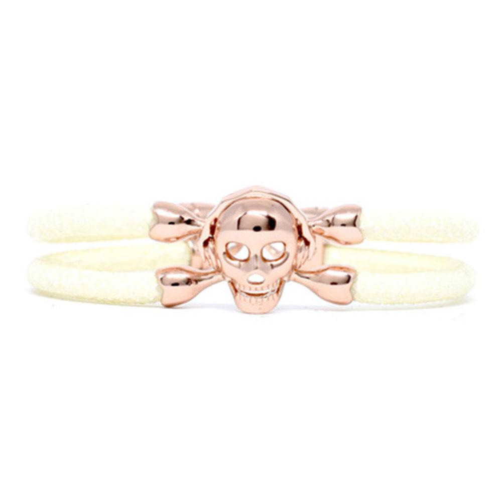 Skull Bracelet | White with Rose Gold Skull | Double Bone
