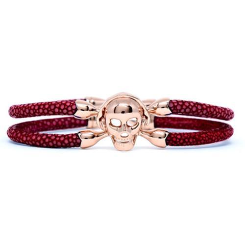 Bracelet   Single Skull   Red Wine/Silver