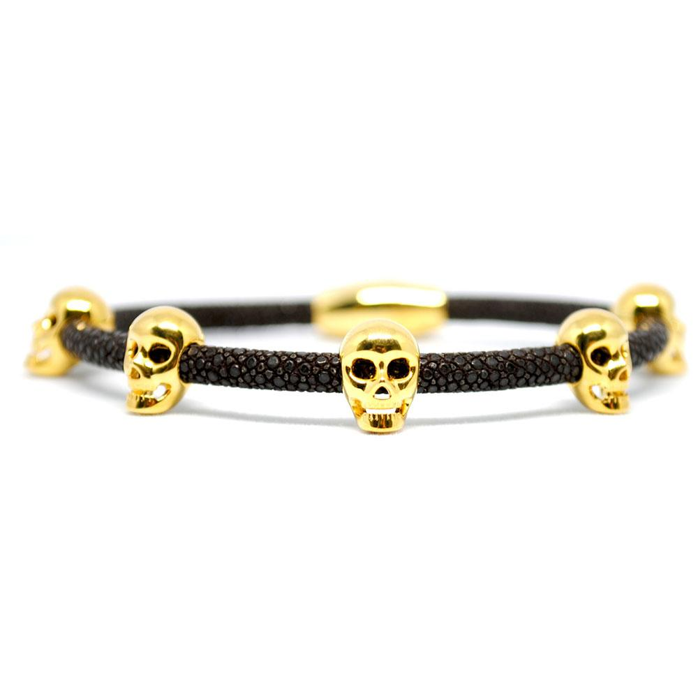 Skull Bracelet | Brown with Gold Skulls | Double Bone