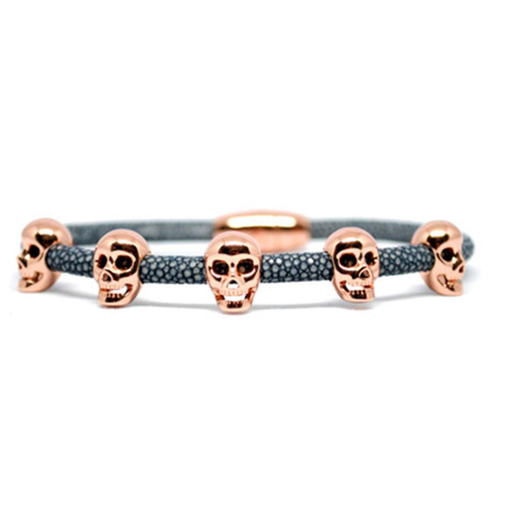 Skull Bracelet | Gray with Rose Gold Skulls | Double Bone