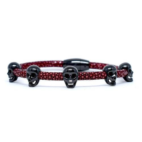 Bracelet | Multi Skull | Red Wine/Black