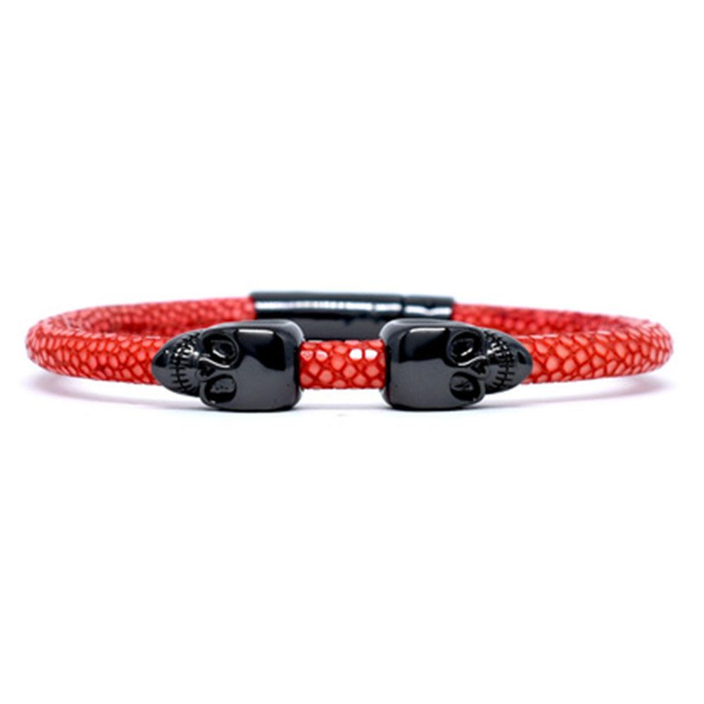 Skull Bracelet   Red   2 Black Skulls   Double Bone